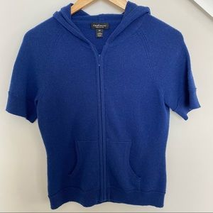 Lord & Taylor | Short sleeved blue cashmere hoodie